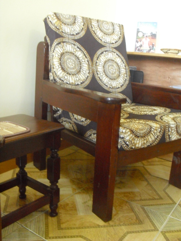 I had my furniture and cushions hand-made in town.