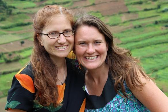 """Kate & I in the """"hills"""" of Kishanje...a remote village in southwestern Uganda."""
